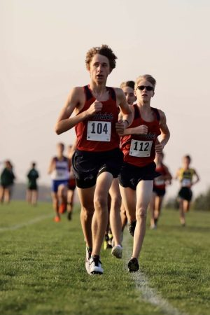 Freshman Dalton Heller gets a fast start to the race. Photo courtesy of PrepRunningNerd.