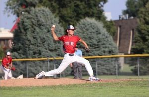 Senior Caden Blair pitches a win for the P52s. Photo courtesy of Caden Blair